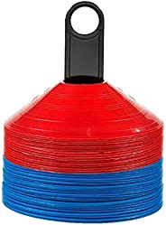 EAST-F Disc Cones (Set of 50) Agility Soccer Cones with Carry Bag and Holder for Training, Football, Kids, Spo