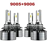 9005/HB3 High beam 9006/HB4 Low Beam LED Headlight Bulbs Combo, Marsauto Head Lamp Package CSP Chips 6000K (4 Pack, 2 Sets)