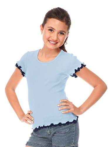 Kavio! Big Girls 7-16 Lettuce Edge Short Sleeve Top Blue/Navy S