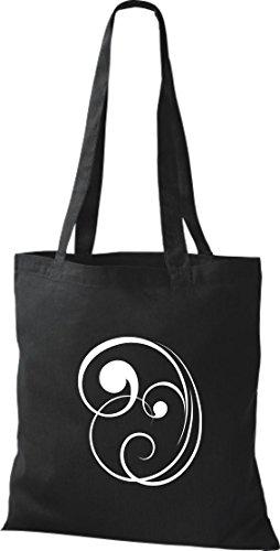 Bolsa de tela decoración floral funda de algodón, bolsa bandolera muchos colores negro
