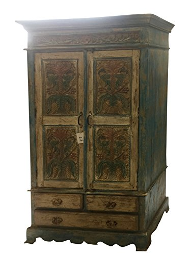 Antique Cabinet Chest Rustic Furniture Armoire with drawers, Rustic Interior Decor by Mogul Interior