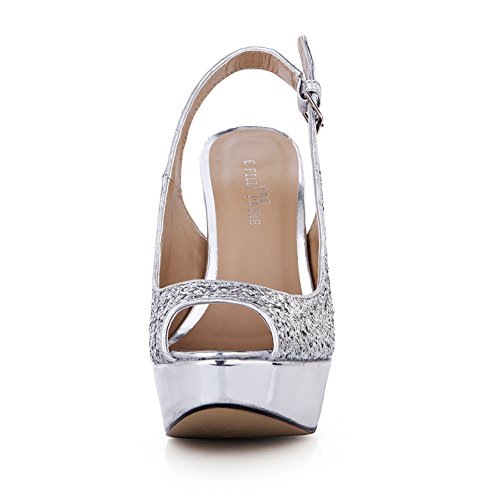 haut d'argent Show la annuel chaussures Nouveau fin Dîner talon à résistant l'eau desktop de Silver avec à sandales wZppqxH