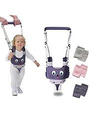 Arnés para caminar para bebé, ajustable de mano para niños, arnés de asistente, cinturón de asistente, hecho de capas de tela de punto transpirable, con 3 rodilleras para gatear