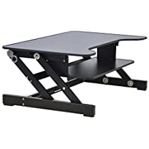 "Rocelco ADR Height Adjustable Sit/Stand Desk Computer Riser, Dual Monitor Capable, 50lb Capacity - 32"" wide With Retractable Keyboard Tray - Black Finish"