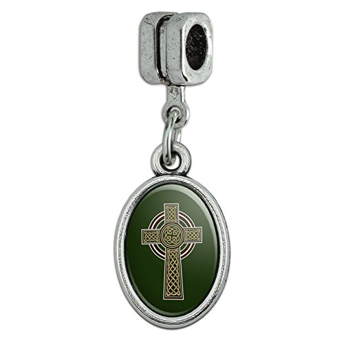 Celtic Christian Cross Irish Ireland Italian European Style Bracelet Oval Charm Bead