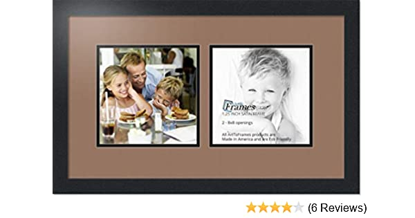 ArtToFrames Collage Photo Frame Double Mat with 2-9x9 Openings and Satin Black Frame