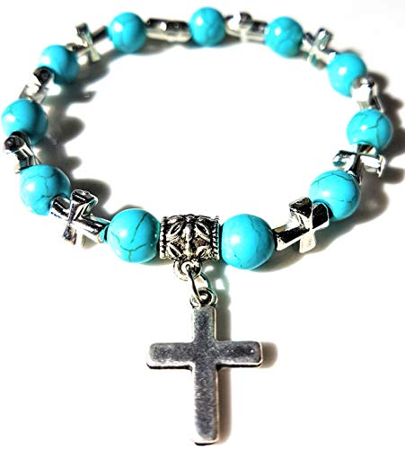 - Nick Angelo's Stretch Bracelet Created Turquoise Christian Cross Pendant Jewelry Vintage Look Versatile Design