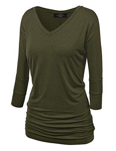 Made By Johnny WT1036 Womens V Neck 3/4 Sleeve Dolman Top with Side Shirring XXXXXL Olive by Made By Johnny