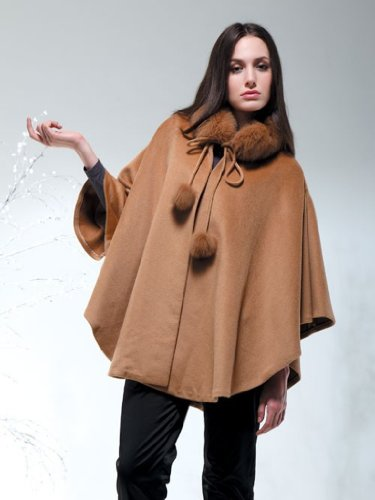 Cashmere Pashmina Group:Cashmere Cape w/genuine Fox Fur Collar & Fox pompom ties (Black) by Cashmere Pashmina Group (Image #8)