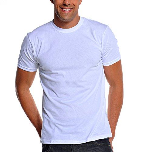 White Club T-shirt (Pro Club Men's Premium Ringspun Cotton Short Sleeve T-Shirt, White, Large)