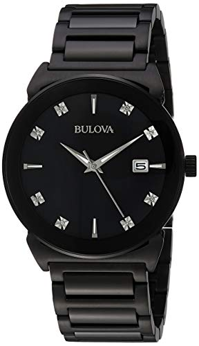 Bulova Mens 98D121XG Quartz Diamond Accents Black Bracelet 40mm Watch (Renewed) ()