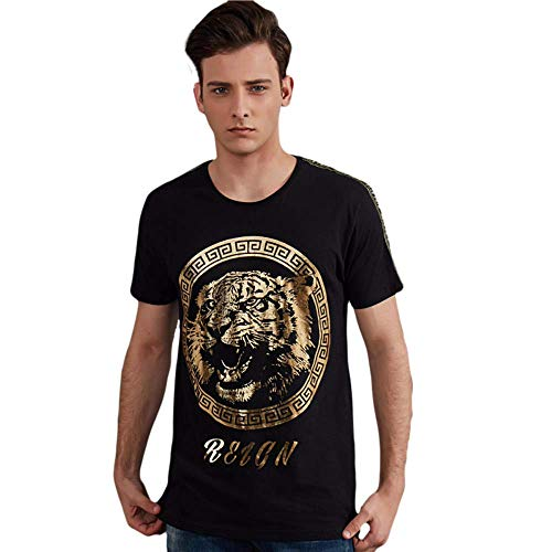 (GO CHANGE Men's Graphic Tee Yoga Casual Fashion Short Sleeve Foli Print Cotton Tee (XL) Black)