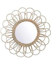 Apostasi Hanging Mirror Rattan Sunflower Circular Wall Mirror, Vintage Round Decor Boho Wicker Dressing Makeup Mirrors, Beautiful Light and Elegant for Home Office Living Room Hallway