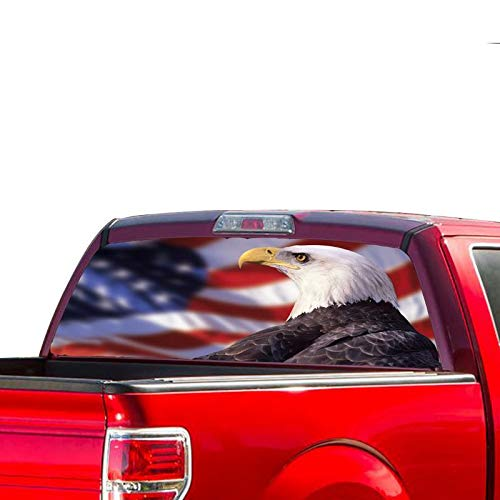 Rear Window Graphic Kit - Gold Fish Decals Rear Window Perforated See Thru Graphic Eagle Flag Decal Sticker Compatible with Ford F150