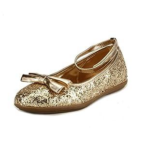 The Doll Maker Metallic Glitter Strap Flat Shoes