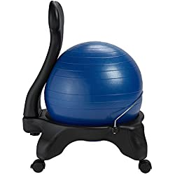 Gaiam Balance Ball Chair - Classic Yoga Ball Chair with 52cm Stability Ball, Pump & Exercise Guide for Home or Office, Blue