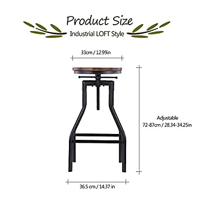 IKAYAA Adjustable Swivel Barstools Rustic Industrial Style Home Kitchen Dining Chair Natural Pinewood Top