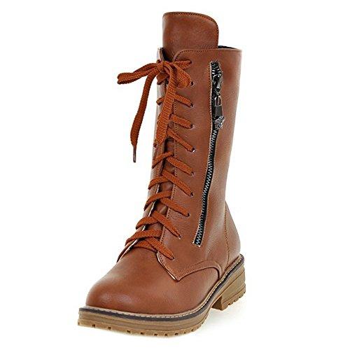 Flat Martin Half Boots Women Combat Fashion up Lace Taoffen Brown 1EtaFxqwt