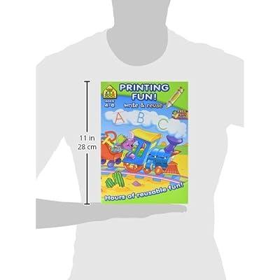 School Zone Write & Reuse Workbook, Printing Fun - Ages 4-6: Arts, Crafts & Sewing