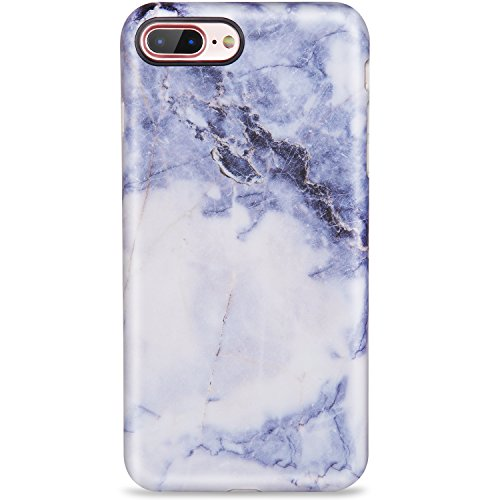 iPhone 7 Plus Case,iPhone 8 Plus Case, Blue Gold Marble for Women Girls Cute Slim Fit Glossy TPU Clear Bumper Soft Rubber Silicone Thin Protective Phone Case Cover for iPhone 7 Plus iPhone 8 Plus