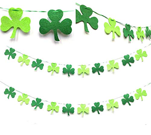 Felt Shamrock Clover Garland Banner NO DIY St. Patrick 's Day Banner Decor Irish Party Supplies Irish Hanging Banner Green Shamrock 13ft St. Patrick 's Day Garland Decorations (13ft Shamrock Banner)]()