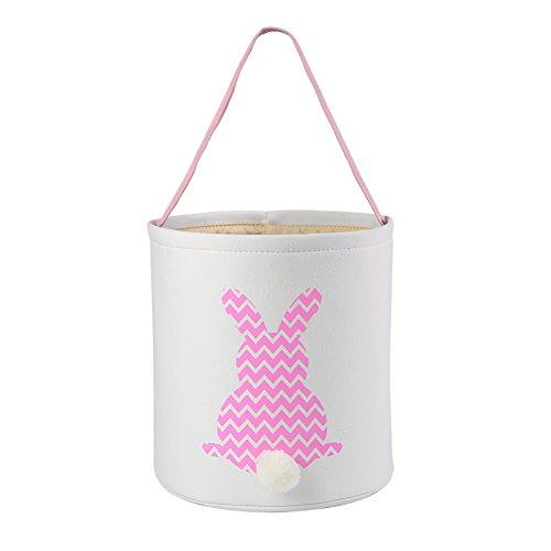 E-FirstFeeling Easter Basket Easter Bunny Bag for Kids Easter Hunt Bag Gift Toy Bucket Tote (Pink)]()
