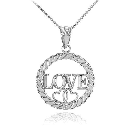 Or 10 Ct Pendentif Femme Cercle Amour Blanc Corde Cœurs Collier À E2W9YDHI