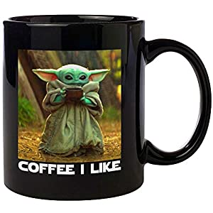 Cute Alien Funny Mugs – 12oz Black Ceramic Coffee Mug – Perfect Gift for Dad Mom Kids – Coffee I Like