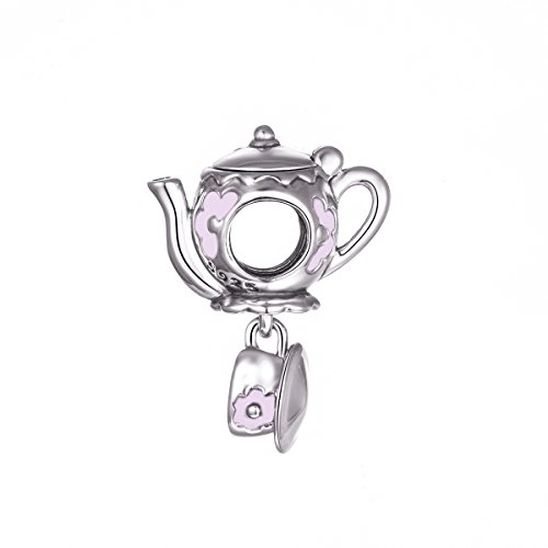 Teapot Glossy - Globalwin 925 Sterling Silver Disney Mad Teapot Cup Set Enamel Charms Fit Pandora Bracelets for Women