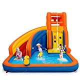 Costzon Inflatable Water Slide, 5-in-1 Kids Bouncer w/ Climbing Wall, Splash Pool, Water
