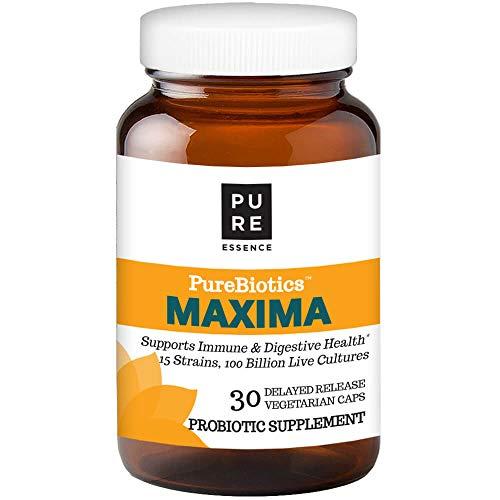 Pure Essence Labs PEL PureBiotics Maxima - 15 Probiotic Strains - 100 Billion CTU - 30 Delayed Release Vegetarian Capsules