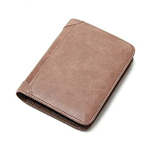 Gespout Billetera de Cuero Hombres Bolsillo de Monedas Tarjeta Bancaria Billetes Caso Multi-capa de Alta Capacidad Plegable Encanto Portátil Bolsos de Mano Compras 1pcs 12*10cm Khaki