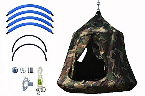 KINSPORY Outdoor Waterproof Backyard Play Center Hanging Tree House Camping Hammock Tent Indoor Bedroom Swing Chair with Lamp String for Accommodating 2 Children -Army Green