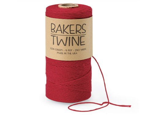 Pack Of 1, Solid Cherry Red Baker'S Twine 240 Yds 4-Ply 100% Cotton Made In USA