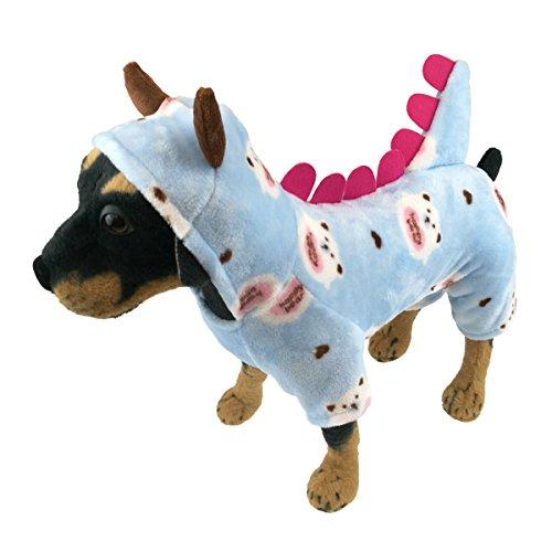 QDOUPET Flannel Pet Pajamas Dinosaur Style Dog Costume Jumpsuit Hoodie Coat for Small Dog (L, Blue)