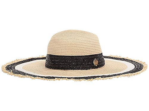 VINCE CAMUTO Women's Raffia Infused Striped Floppy Natural One Size
