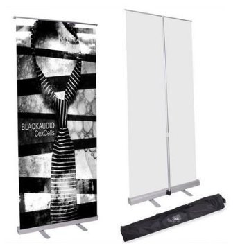 32x79 Inches Economy Telescopic Rollup Retractable Banner Stand Trade Show Pop up Sign Holder w/ Portable Aluminum Silver for Display Graphics Tradeshow Poster from Generic