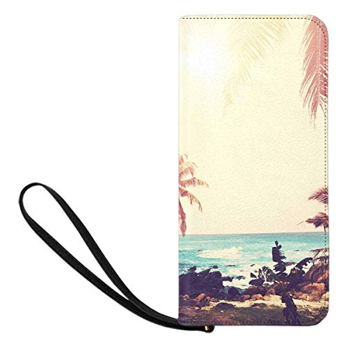 (InterestPrint Women's Tropical Beach Palm Tree Summer Cell Phone Purse Holder Wallet Passport Wallet)