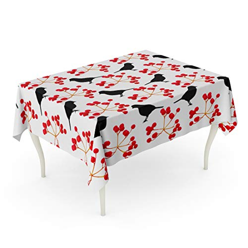 Semtomn 60 x 84 Inch Decorative Rectangle Tablecloth Abstract Red Berries and Birds Raster Beak Birdhouse Black Branch Waterproof Oil-Proof Printed Table Cloth