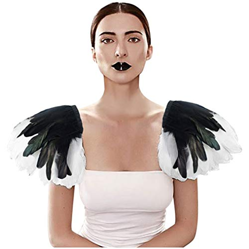 HOMELEX Black Feather Epaulette Shoulder Pieces White Feathers Shrug Wings Feathered Capulet