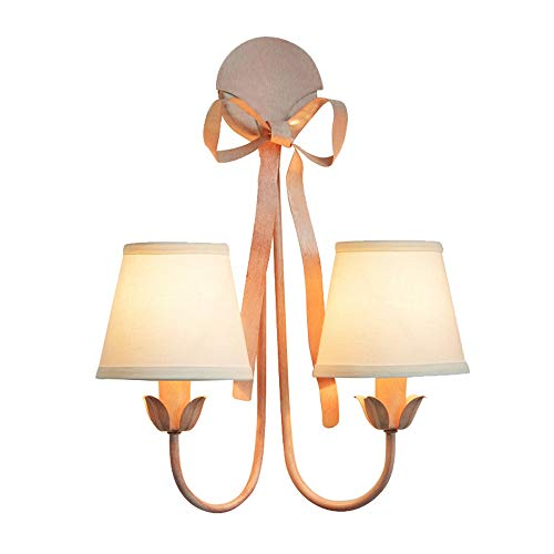 - European Minimalist Wall Light - Pink Finish, Bow Design Creative Wall-mounted Lights Fixture - Ideal Princess Girl Nursery Indoor Wall Lamp with White Fabric Shade,E14 Socket ( Color : 2 lights )