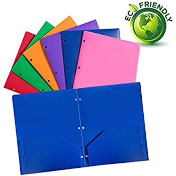 Plastic pocket folders with 3 hole,heavy duty star folders ,Assorted Colors ,Pack of 6