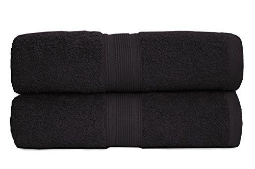 2er Pack Frottier Saunatücher Set 80x200cm - Qualität 500 g/m² - 100% Baumwolle in 19 modernen Farben (Schwarz)