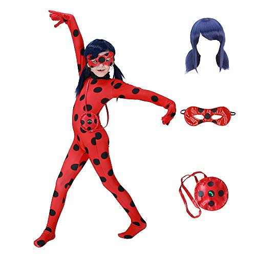 GREATCHILDREN Ladybug Girls Costume COSPLAY Jumpsuit for Halloween birthday party set 5pcs/bag