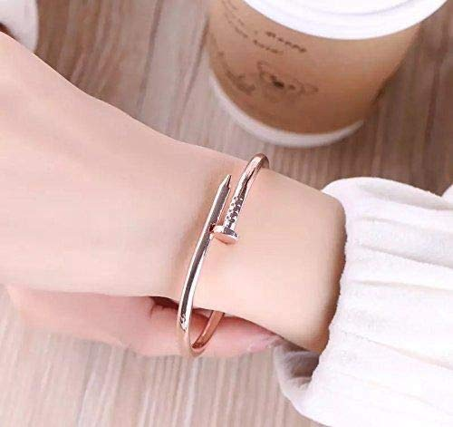 915379321 Women Bracelets Designer Rose Golden Titanium Steel Nail Cuff Bangle ...