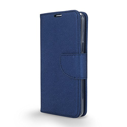 BLU Studio Mega Case, BLU Advance A6 Case,[NewFrontier], Wallet with PU Leather + TPU Inner Fold stand Pouch with ID Credit Card Photo Cash Slots (Wallet Blue)
