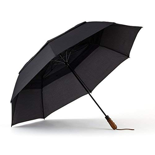 ShedRain WindPro Vented Auto Open Jumbo Compact Umbrella w/Ergonomic Wood Grip: Black