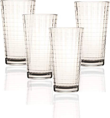 Circleware 44102 Windowpane Heavy Base Drinking Glasses, Set of 4, 17 oz, 17 Ounce, Matrix 4pc