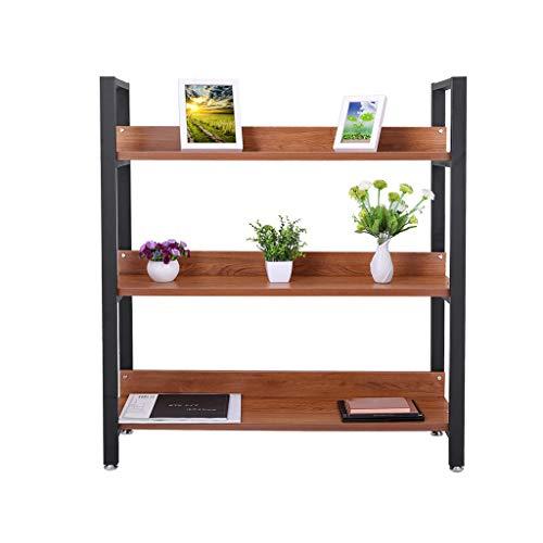 (Kingwo Showcase Storage 3-Tier Bookshelf, Simple Assembly Living Room Steel Wood Bookshelf Shelf (Shipping from US))