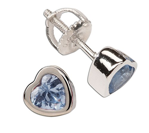 Girl's Sterling Silver December CZ Simulated Birthstone Heart Earrings with Screw Back (6mm)